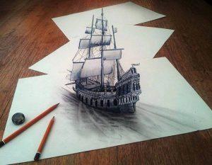 Kağıt üzerinde karakalemle çizilmiş bir 3d yelkenli gemi...