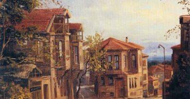 İstanbuldan eski bir mahallenin, ahşap evlerinin ve ağaçlık sokaklarının yağlı boya resmi