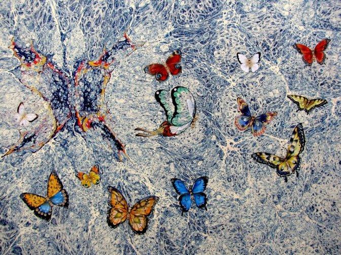 yılmaz eneş, gül baba ebru sanatı, ebru örneği, kelebek-k