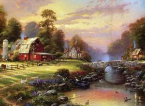 İnsanın hayallerini süsleyen dere kenarında harika bir köy evi ve ağaçlar
