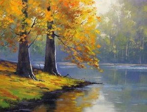 Ormandaki bir göl manzarası resmedilmiş