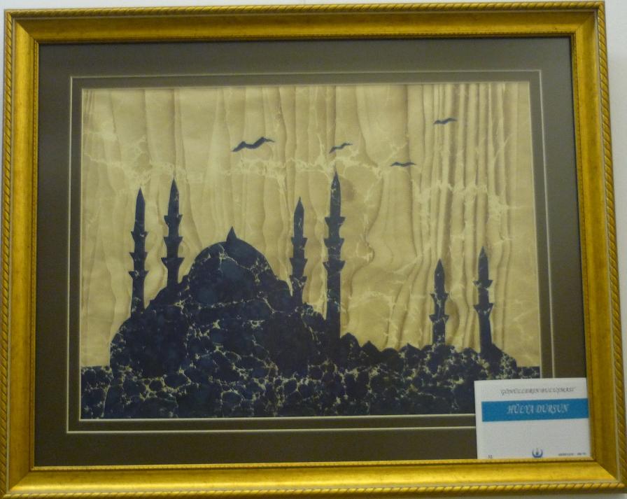 gönüllerin buluşması geleneksel sanatlar sergisi, kocav, sultanahmet 2015, ebru ile cami silueti
