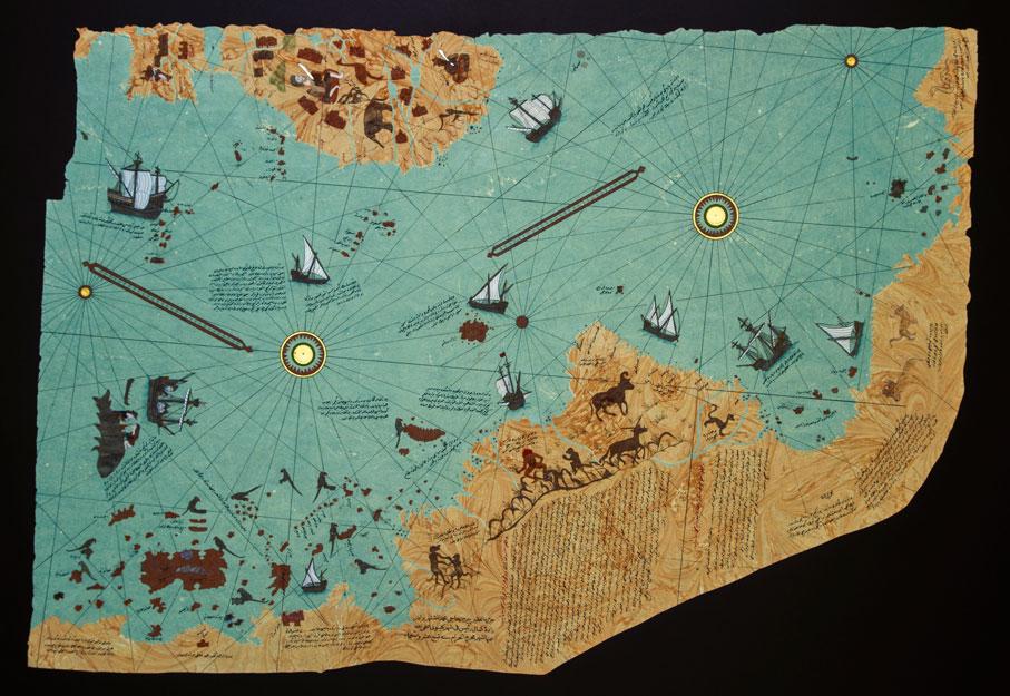 yılmaz-eneş,-gül-baba-ebru-sanatı,-piri-reis-amerika-haritası-biçiminde-ebru-örneği-k